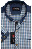 Koszula Męska Speed.A błękitna w kratkę z dodatkami jeans na krótki rękaw duże rozmiary K741 7XL 51 182/188