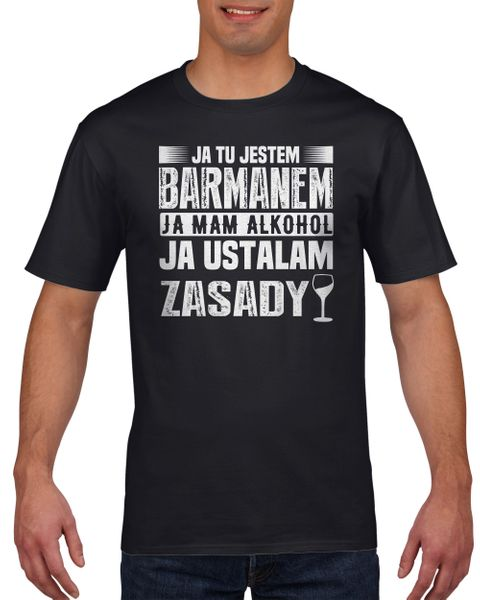 Koszulka męska Ja tu jestem barmanem XL Czarny na Arena.pl