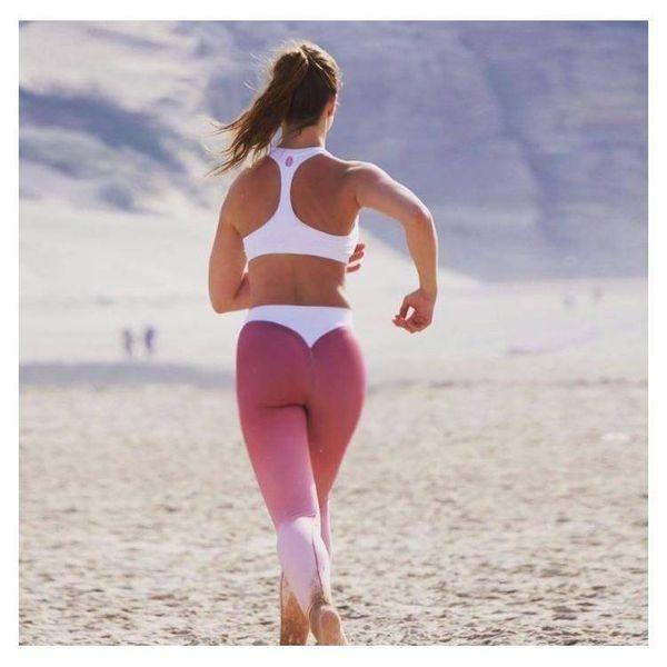 Sportowe Legginsy Fitness Trening Różowo Białe L LEG12L na Arena.pl