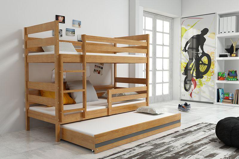 Łóżko piętrowe trzyosobowe Eryk 190x80 dla dzieci dziecięce + STELAŻ zdjęcie 3