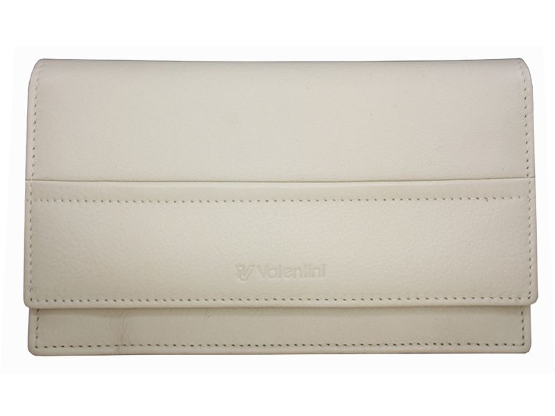 Damski, skórzany portfel w kolorze kremowym Valentini zdjęcie 2