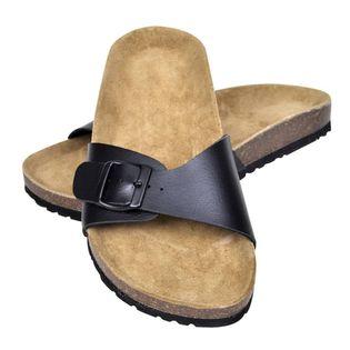 Sandały damskie z korkową podeszwą i 1 paskiem, czarne, 39