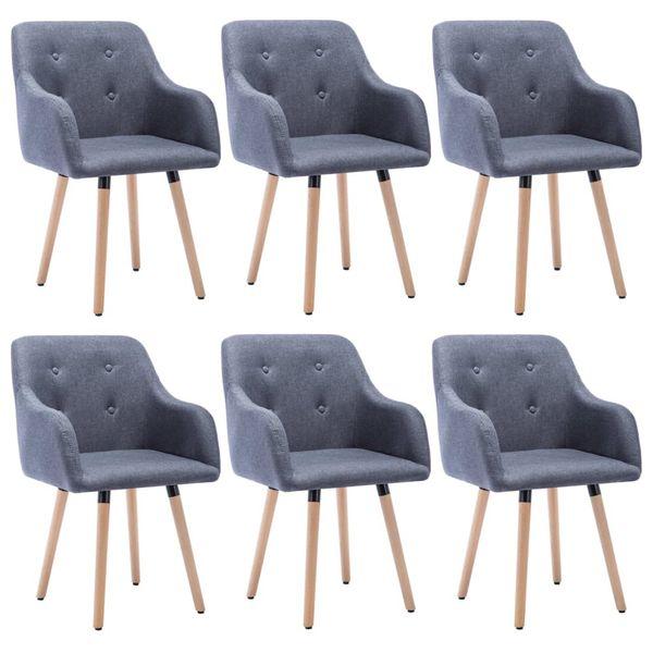 Krzesło Krzesła Do Jadalni Tapicerowane 6 Sztuk 55x55x84cm Szare