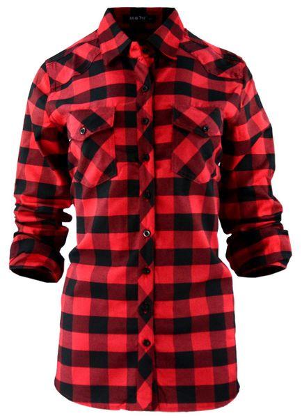 Damska koszula w czerwono czarną kratkę 42 50 | Tania