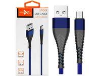 Kabel micro USB z oplotem Spider (2 m, niebieski)