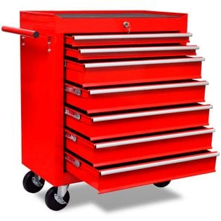 Czerwony wózek narzędziowy/warsztatowy z 7 szufladami