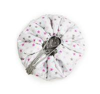Mata do zabawy/worek na zabawki 2w1 szare/różowe gwiazdki 150 cm Color - Black