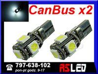 żarówka LED T10 5 SMD w5w w3w biala zimna 12v EKO CANBUS can bus 2 SZT
