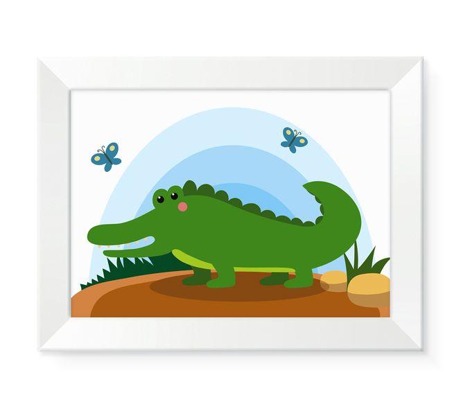 Obraz obrazek ścienny dla dziecka dzieci zwierzęta w ramce KROKODYL zdjęcie 1