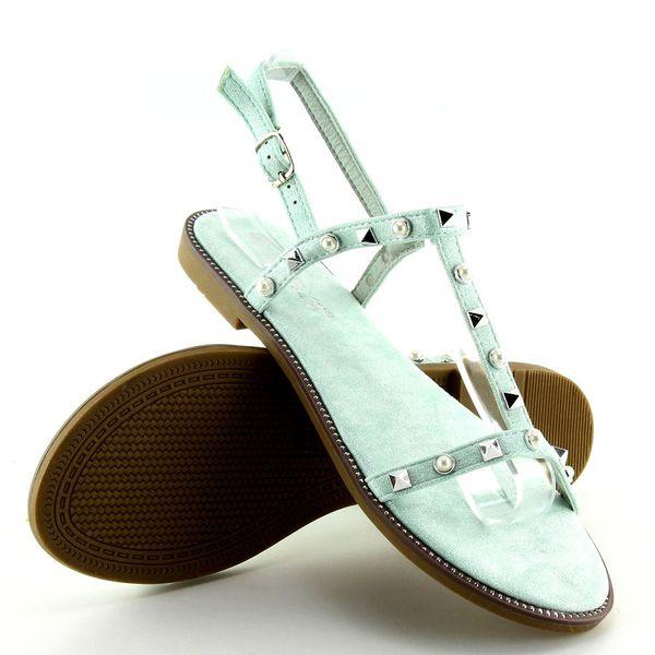 Sandałki z ćwiekami miętowe S-375 Green r.36 zdjęcie 2
