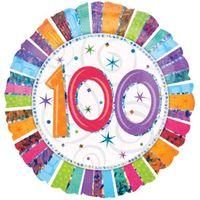Balon foliowy okrągły na 100 URODZINY setka 45 cm