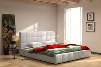 Łóżko tapicerowane 140 x 200 stelaż + pojemnik łóżko białe