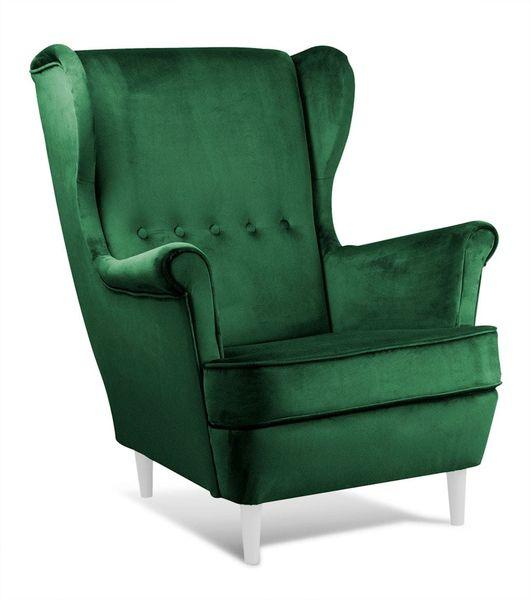 Fotel USZAK styl skandynawski butelkowa zieleń zdjęcie 1