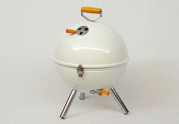 Grill ogrodowy węglowy okrągły, mini grill bbq kolor biały zdjęcie 2