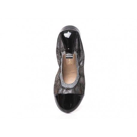 BGUM Czarno srebrne baleriny skórzane z gumką damskie LAGARRO 36