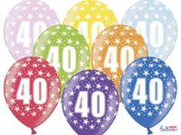 Balony urodzinowe 36 cm LICZBA 40 lat urodziny x6