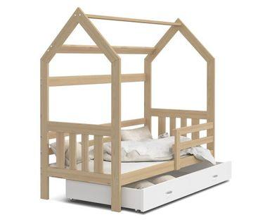 Łóżko drewniane DOMEK 2 160x80 + materac + stelaż