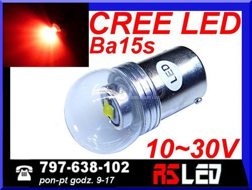 żarówka LED P21W ba15s Cree X-PE 12v 24v czerwona przeciwmgłowa STOP na Arena.pl