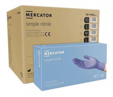 Rękawice nitrylowe bezpudrowe MERCATOR® simple nitrile M karton 10x100