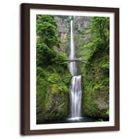 Obraz w ramie brązowej, Most nad wodospadem 40x60