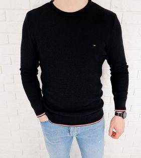 Czarny pleciony sweter męski ozdobne obszycia 3606 - L