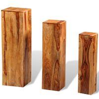 Stojak na kwiaty, 3 elementy, lite drewno sheesham, brązowy