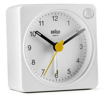 Braun BC02W Budzik analogowy, zasilany bateryjnie, alarm, drzemka, podświetlenie