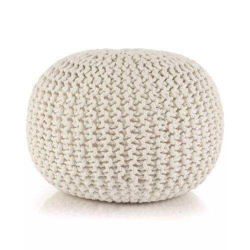 Puf z ręcznie dzierganym pokryciem z bawełny, 50x35 cm, biały na Arena.pl