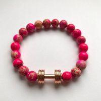 Fit Kolekcja - Bransoletka z koralików ze sztangielką rose gold & pink imperial jasper 16 cm