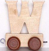 Wagonik z literką W - LITERKA element z układanki ALFABET POCIĄG