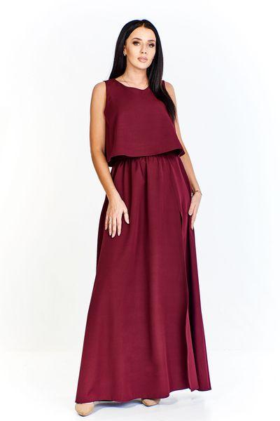 Sukienka o lekko rozkloszowanym dole imitująca luźną krótką bluzkę i spódnicę maxi z rozporkiem - Bordowy 40 na Arena.pl