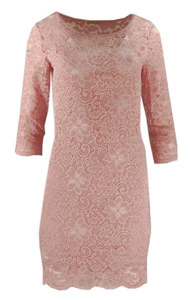 bc605cfa Koronkowa sukienka ołówkowa z dekoltem SERCE - pudrowy róż Rozmiar - L/XL