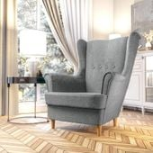Fotel Skandynawski Uszak mocny materiał+sprężyny