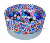Suchy basen z piłeczkami dla dzieci - grube DNO - łowicki jasny