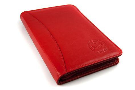 Skórzane etui na dokumenty, recepty, wizytówki Cartello W614 Czerwony