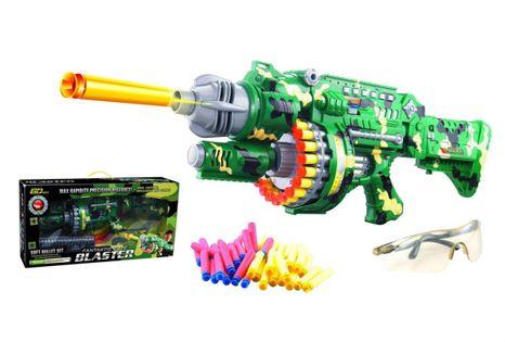 Wyrzutnia karabin bębenkowy Blaster + okulary + 40 strzałek