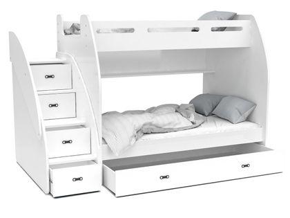 Łóżko piętrowe ZUZIA + materace + szuflada + schodki - białe