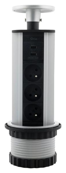 LISTWA ZASILAJĄCA CHOWANA W BLAT 3 GNIAZDA 16A + 2 USB (760063) zdjęcie 1