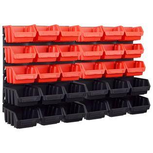 Lumarko 32-częściowy organizer na panelach ściennych, czerwono-czarny