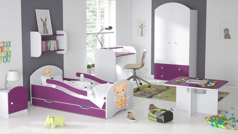 Łóżko dziecięce łóżeczko 140x70 biały / fiolet szuflada materac zdjęcie 2