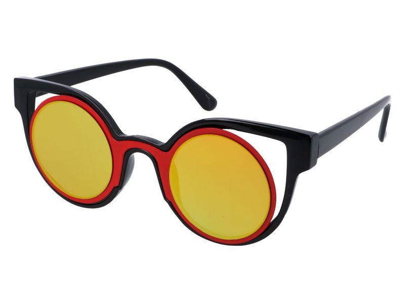 czerwone okulary cat eye lustra zdjęcie 2