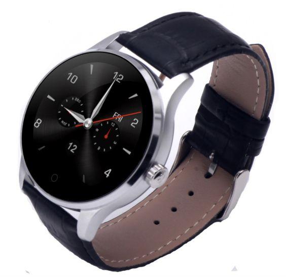 SREBRNY smartwatch zegarek bluetooth pulsometr K88H skórzany pasek na Arena.pl