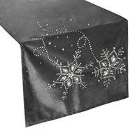Bieżnik Świąteczny Elegancki Szary Kryształki