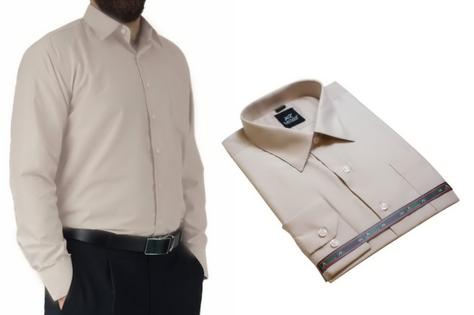 50/51 - 6XL DUŻA koszula męska bawełniana beżowa Laviino