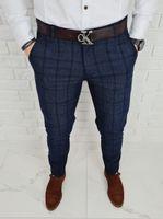 Granatowe eleganckie spodnie męskie w krate Monaco-4 - 31