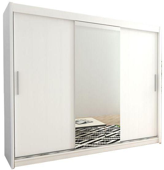 Szafa przesuwna garderoba Tokyo 1-250 z lustrem biała wenge sonoma na Arena.pl