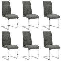 Krzesła stołowe, wspornikowe, 6 szt., szare, sztuczna skóra