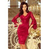 Koronkowa sukienka z rozkloszowanymi rękawkami - BORDOWA XL