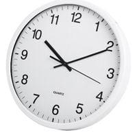 Zegar ścienny TOE biały metalowy szyba baterie 30cm swe