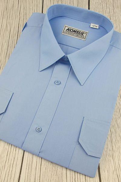 Koszula Męska Konsul gładka niebieska z pagonami w kroju REGULAR na krótki rękaw K957 XXL 44 176/182 zdjęcie 4